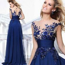 NEW Blue Lace Appliques Prom Gown Evening/Formal/Party/Cocktail/Prom Dress