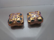 2 IMPERIAL CLOISONNE BEADS HANDMADE DIAMOND SHAPED VINTAGE EARRINGS OR NECKLACE