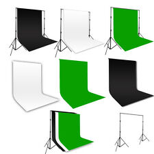 Photo Studio Black White Green Cotton Muslin Backdrop 2x3m Background Stand Kit