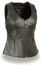 WOMEN'S MOTORCYCLE RIDERS BLACK BUTTER SOFT LEATHER VEST PLAIN NEW BLACK