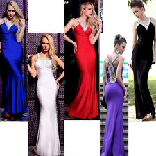 women lady sexy paillette sequin backless V sleeveless full dress gown party y6