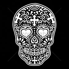 Day Of The Dead Sugar Skull Hearts In Eyes White Ink T-Shirt Tee