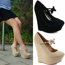 NEW Womens Ladies CHUNKY MID SUMMER HIGH HEELS WEDGE PLATFORM SANDALS SHOES SIZE