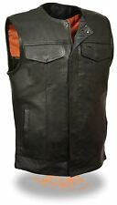 Milwaukee SOA Mens Collarless Vest Zipper/Snap Front w/ 2 Gun Pockets Naked Skin