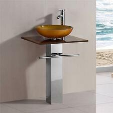 """24"""" Bathroom Gold Mustard Tempered Glass Vessel Sink Vanity with faucet xd040G"""