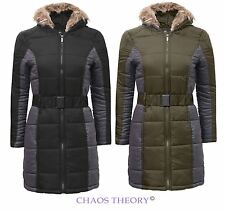Brave Soul Womens Ladies Belted Fur Hooded Coat Quilted Padded Parka Jacket