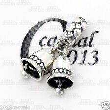Casualc Authentic 925 Sterling Silver Silver Bells Pendant European Charm Bead