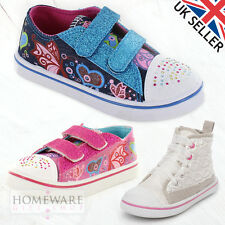 Girls Kids Canvas Trainers Shoes Silver, Pink, Navy Denim Glitter Pumps