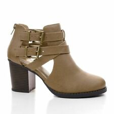 WOMEN'S DUAL BUCKLE CUTOUT STRAP ANKLE BLOCK STACKED CHUNKY 3 INCH HEEL BOOTIES