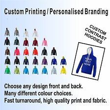CONTRAST 2 COLOUR CUSTOM PRINTED HOODIES, PERSONALISED, TEAM, EVENT, PARTY