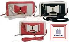 LYDC Faux Leather Evening Bow Two Zip Wallet Shoulder Strap Purse Clutch Bag