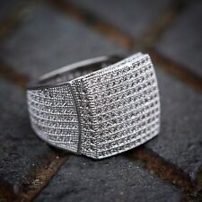 Mens Lab Simulated Diamond Ring Hip Hop Style Micro Pave Square Iced Out 360