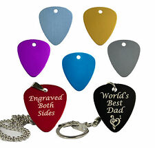Metal Coloured Guitar Pick  Engraved Plectrum Keyring/Necklace Fathers Day Gift