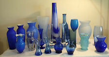 BLUE GLASS VASE SELECTION BOHEMIA CASED VINTAGE ART OPAQUE SWIRL PONTAL AVON