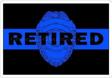 Thin Blue Line Badge Retired Reflective Decal Sticker Police Sheriff Trooper