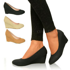 New Ladies Womens Low Mid Wedge Heels Platforms Pumps Court Shoes Wedges Size UK