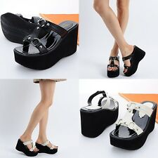 Noble 10cm Wedges Open Toe High Heels Clogs Mules Sandals Women Shoes US 4.5~8