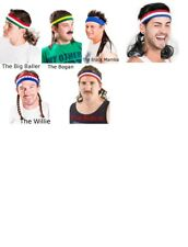 Mullet On The Go Headband Wig Combo (Choose Your Style) Red White Blue Green New