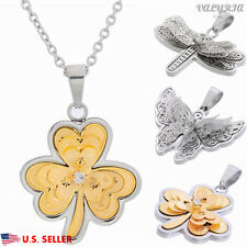 New VALYRIA 316L Stainless Steel Women's Fashion 3D Pendant Necklace CZ Stone