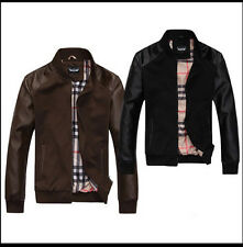 New Men's Casual Stand Collar Splice Leather Coat Motorcycle Jacket