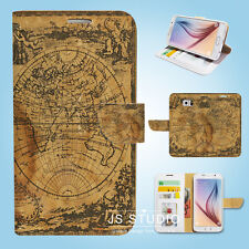 Samsung Galaxy S3 S4 S5 S6 Edge Note Flip Wallet Case Cover World Map S111