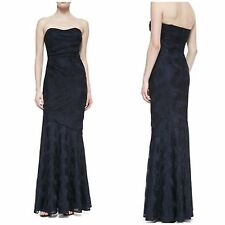 David Meister Strapless Sweetheart Ruched Gown, Navy/Black msrp$567