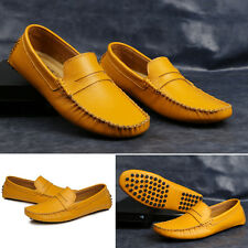 Mens Casual Soft Genuine Leather Flats Slip On Loafers Moccasins Driving Shoes