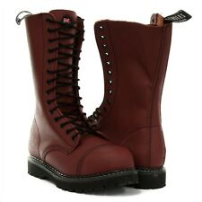 Grinders Herald Unisex Combat Boots Red Cherry Leather Safety Steel Cap Military