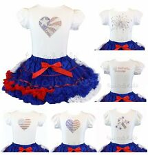 Patriotic Heart Flag Fireworks Princess Pettiskirt Outfit Pageant Party NWT 1-10