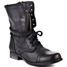 Steve Madden Troopa Mid Leather Lace Up Black Boots Combat Boot Bootie