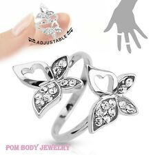 Adjustable Double Butterfly Multi-Paved Gems Rhodium Plated Brass Ring