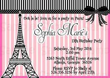 Pink Paris Party Invitation: Personalized, Baby Shower, Birthday, Bridal Shower