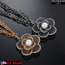 VALYRIA Stainless Steel Women's Fashion Flower Long Sweater Chain Necklace 31''