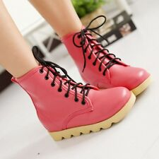 Women Combat Punk Ankle Martin Boots Lace Up Mid Calf Boots Fashion Shoes