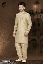 Mens Traditional Wear Beige Colour Indo Western Wedding Dress From India