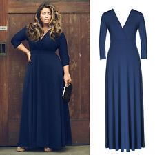 Plus Size Women's Sexy V Neck Long Sleeve Bandage Evening Party Long Maxi Dress