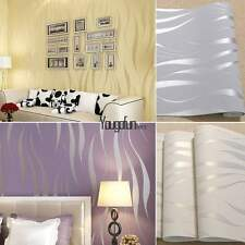 New 10M Bedroom Improvement Non-woven Luxury 3D Wave Flocking Wallpaper Rolls