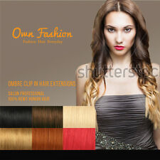 Dip Dye Ombre Human Hair Clip in Hair Extensions Full Head