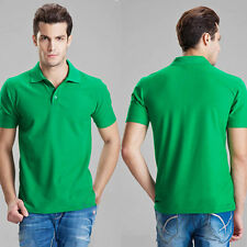 Solid Classical Men Lapel POLO Shirt Short Sleeve Cotton Blend Tee T-shirt M-XXL