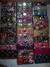 VERA BRADLEY TURN LOCK WALLET ORGANIZER/ZIP AROUND QUILTED COTTON L@@K NEW