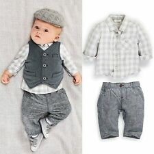 3pcs Newborn Infant baby boys Outfits Waistcoat+Pants+Shirts Sets Clothes 0-2Y