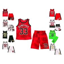 Basketball Summer Shorts Boys New Girl Top Vest Kit Set Size Age 2-14 Years Bnwt