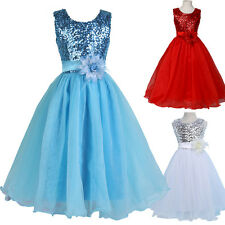 Flower Girls Princess Bridesmaid Party Wedding Pageant Dresses Sequins Age 7-12Y