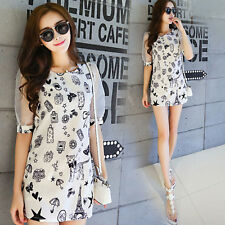 Korean Womens Summer Short Sleeve A-line Shirt Mini Short Dress Slim Long Blouse