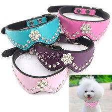 Pet Dog Cat Puppy Collar Adjustable PU Leather Crystal Bling Rhinestone Diamante