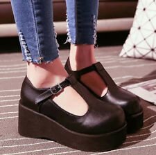 Womens High Heel Creeper Platform Pumps T-Strap Mary Jane Lolita Chic New Shoes