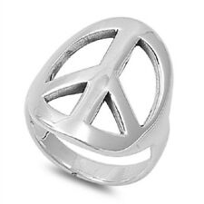 Peace Sign Ring, 925 Sterling Silver, Rocker Style, Everyday, Glossy, Charming