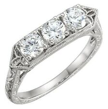 14K Diamond Engagement Ring band 0.75 Ct Antique Filagree 3 stone Anniversary