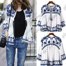 Women Trendy Ethnic Embroidered Blue and White Flower Linen Cardigan Jacket Coat