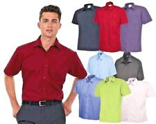 Mens Plain Short Sleeve Shirt Formal Casual Size Small to 3XL Collar 14 - 19.5